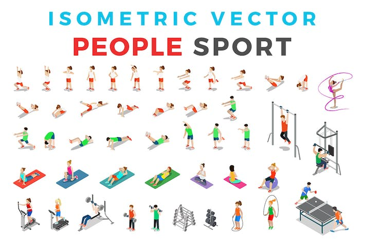 Thumbnail for Vector Sport People Isometric Flat