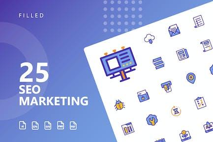 SEO Marketing Gefüllte Icons