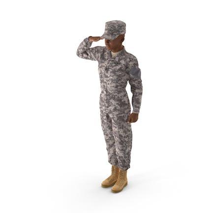 Black Female Soldier ACU Saluting Pose