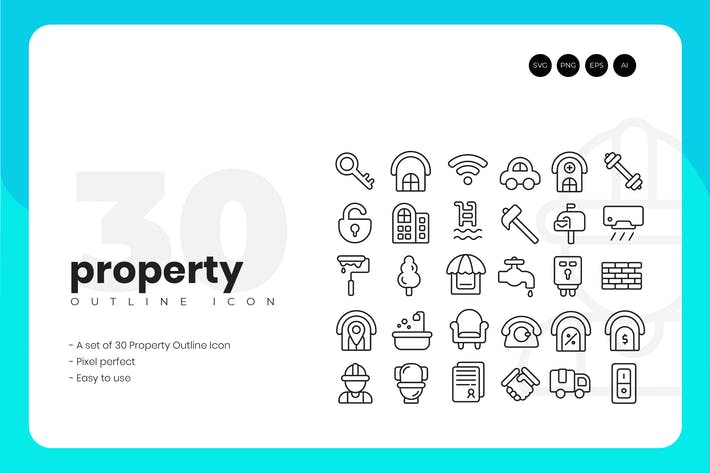 Thumbnail for 30 Property Outline Icon Set