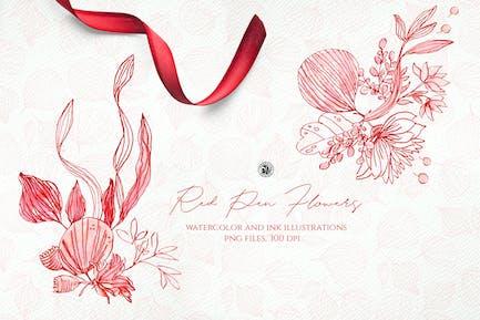 Red Pen Flowers