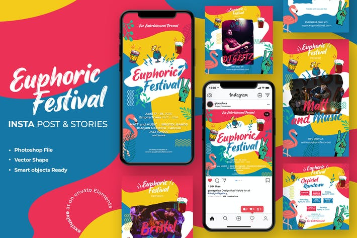 Thumbnail for Euphoric Festival Summer Instagram Template