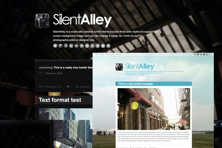 Thumbnail for Silent Alley - Responsive Multi-Color Tumblr Theme