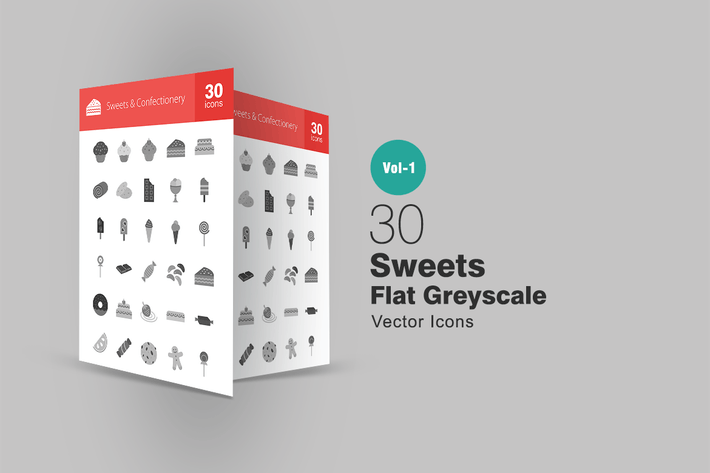 Thumbnail for 30 Sweets & Confectionery Greyscale Icons