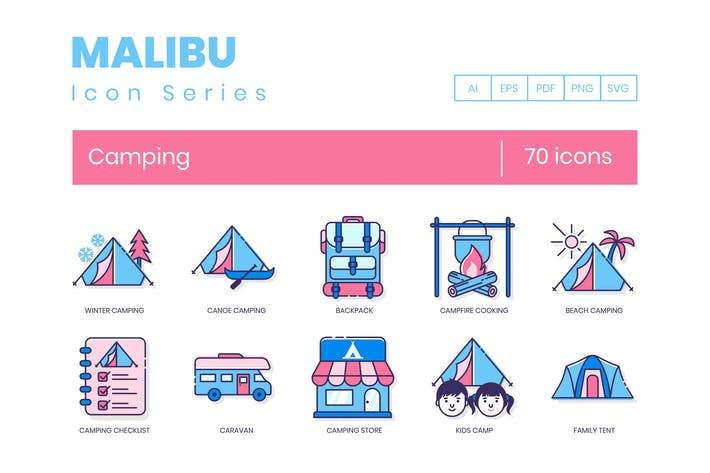 Thumbnail for 70 Camping Icons | Malibu Series