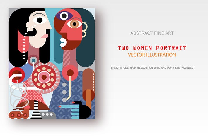 Thumbnail for Two women portrait vector illustration