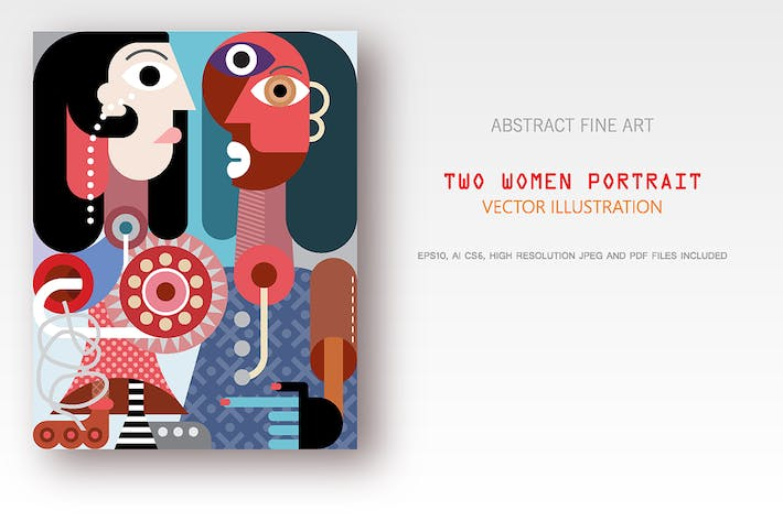 Cover Image For Two women portrait vector illustration