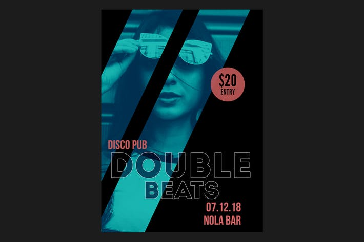 Double Beats Flyer Poster