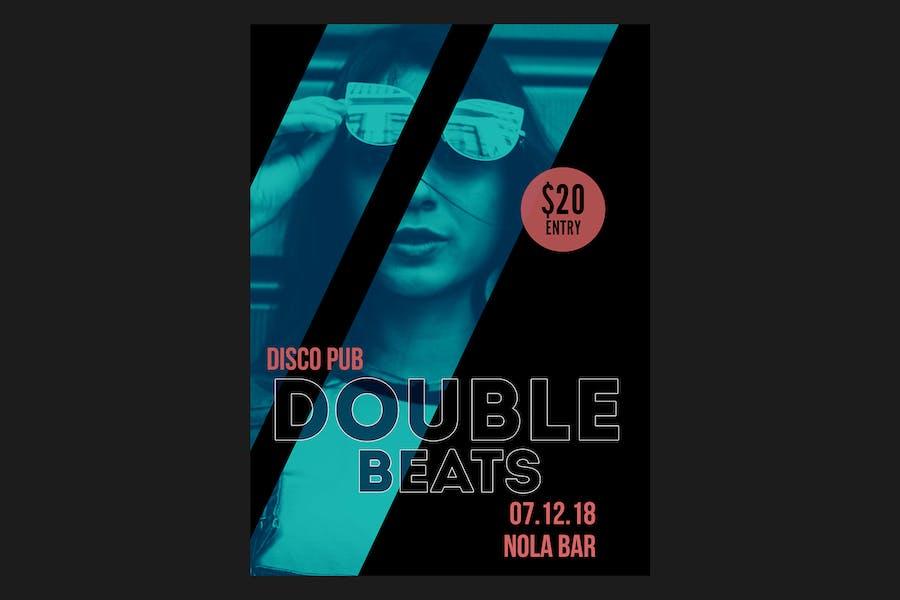 Double Beats Flyer Poster