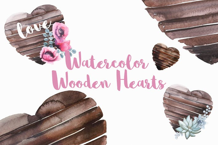Cover Image For Watercolor Wooden Hearts