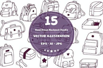 Hand Drawn Backpack Doodle Set