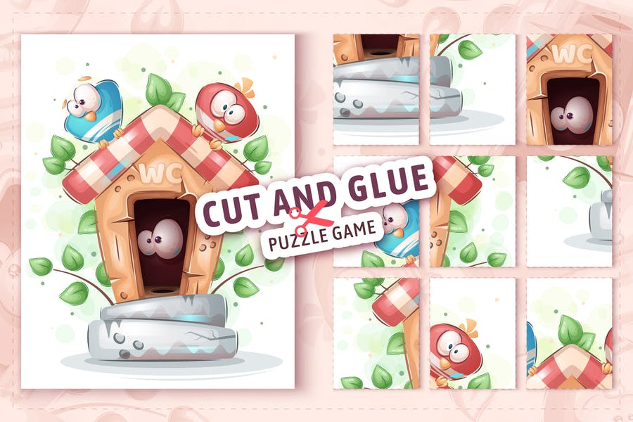 Bird in toilet - game for kids, cut and glue