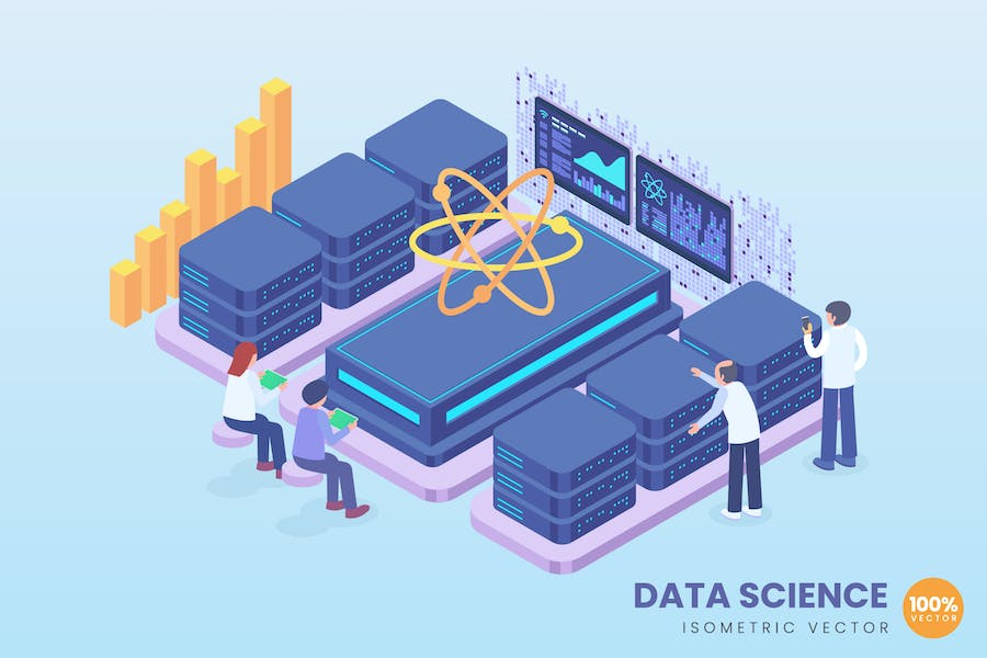 Isometric Data Science Concept
