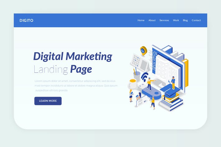 Thumbnail for Digito - Hero Banner Landing Page Template