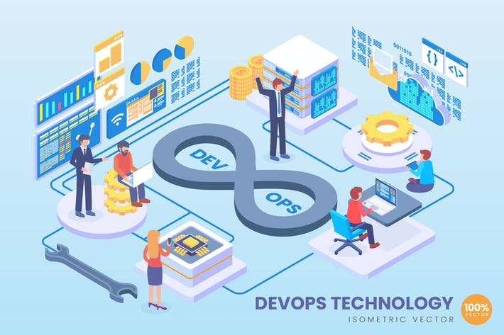 Thumbnail for Isometric DevOps Technology Vector Concept
