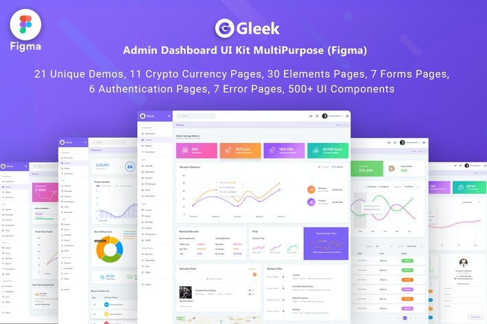 Thumbnail for Gleek-Admin Dashboard (FIGMA) UI Kit MultiPurpose