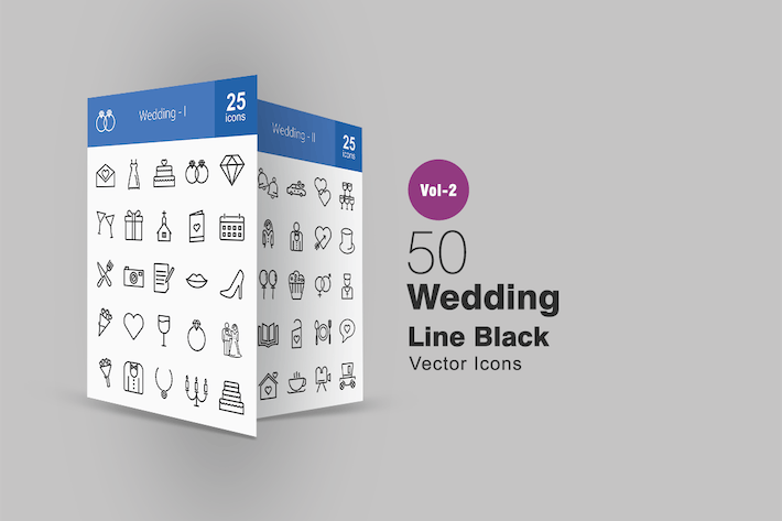 Thumbnail for 50 Wedding Line Icons