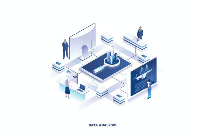 Thumbnail for Data Analysis Isometric Banner Flat Concept
