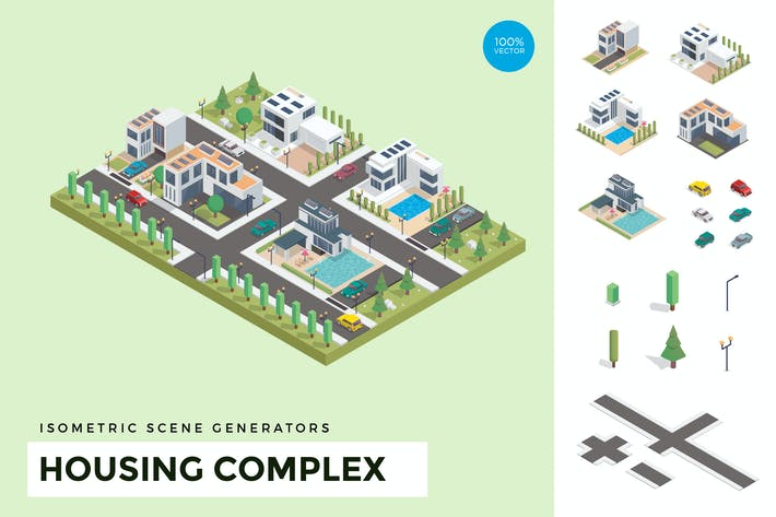 Thumbnail for Isometric Housing Complex Vector Scene Creator