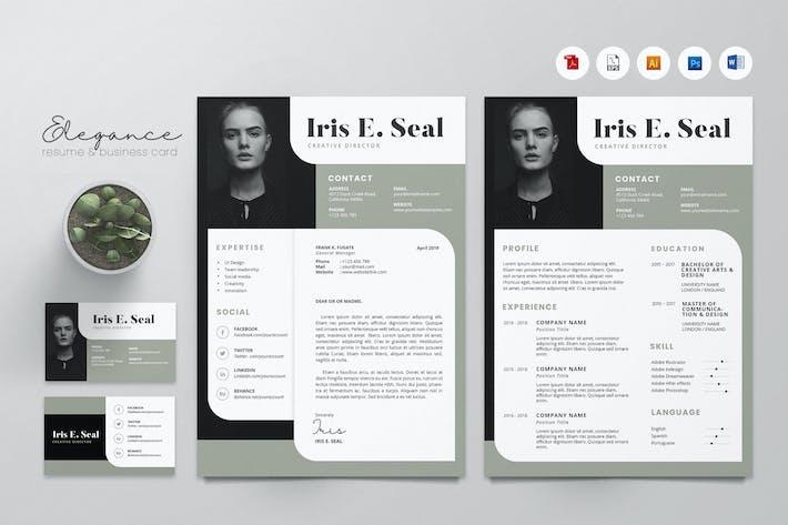 Creative CV Resume & Name Card PSD, DOCX, AI No.06