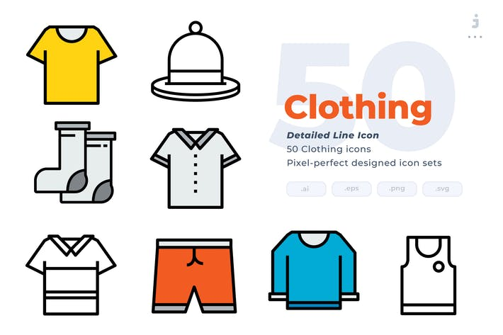 Thumbnail for 50 Clothing Icons - Detailed Line Icon