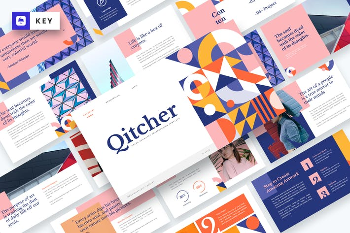 Thumbnail for Qitcher - Color Geometry Keynote Template
