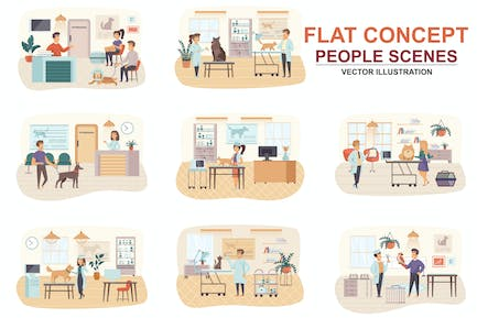 Collection Veterinary Flat Concept People Scenes