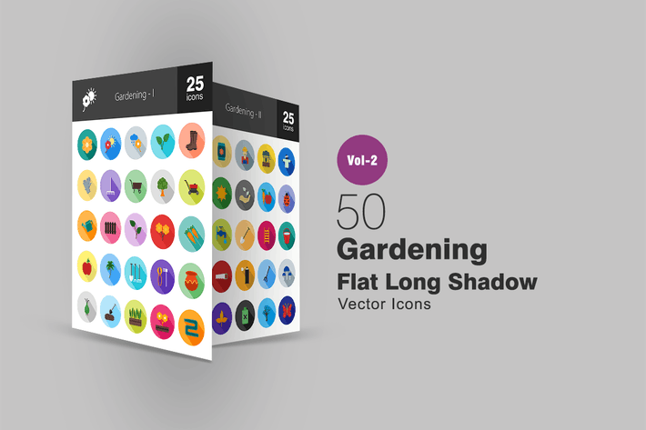 Thumbnail for 50 Gardening Flat Long Shadow Icons