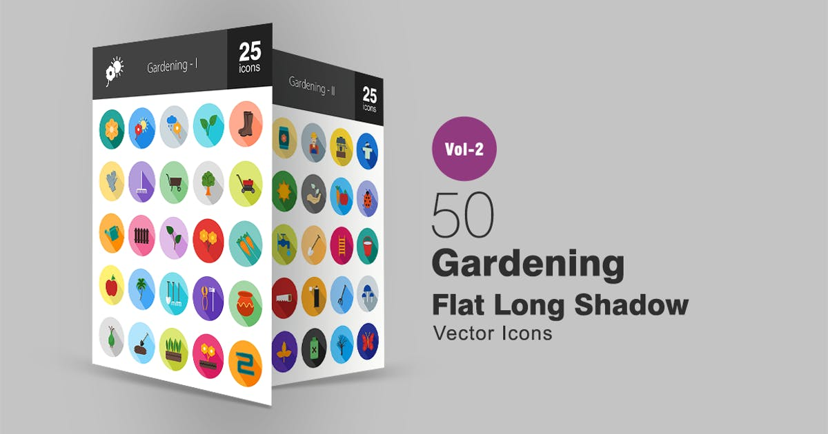 Download 50 Gardening Flat Long Shadow Icons by IconBunny
