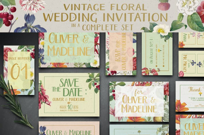 Thumbnail for Vintage Floral Wedding Invitation