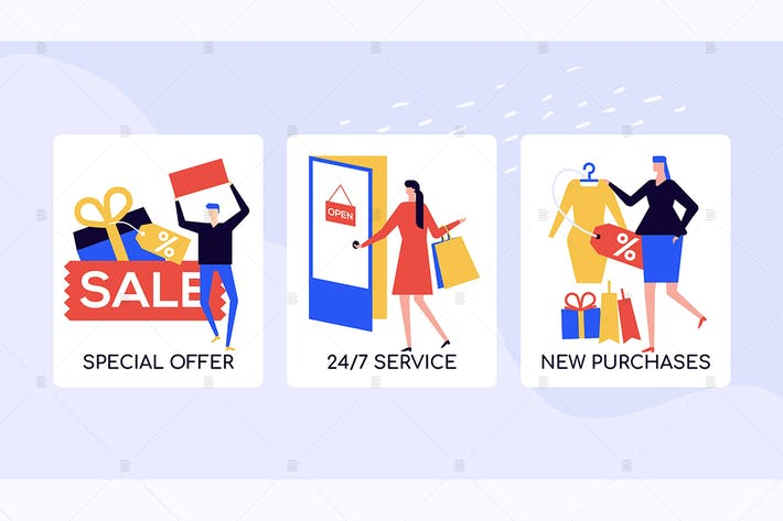 Thumbnail for Shopping and sales vector colorful banners