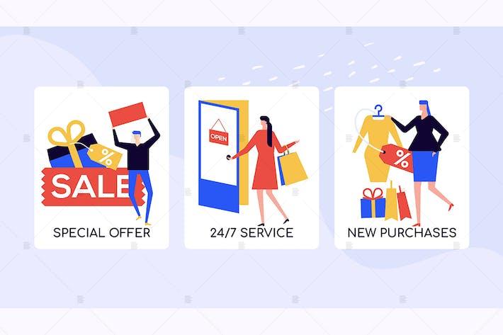 Thumbnail for Магазины и продажи вектор красочные баннеры
