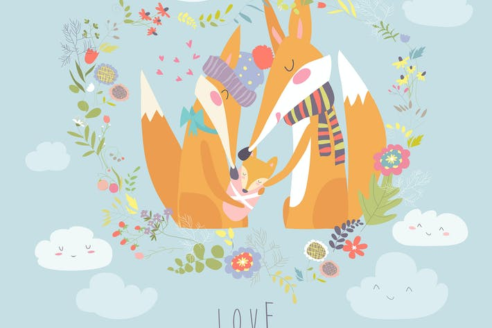Thumbnail for Loving fox family as a shape of a heart.