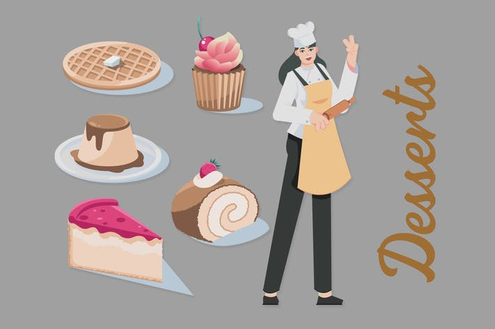 Десерты - иллюстрации