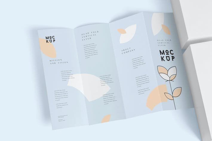 Quad Fold Vertical Flyer Mockups