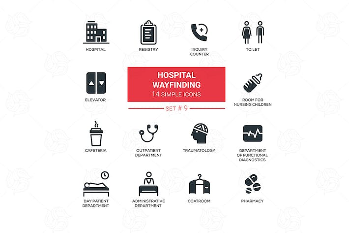 Thumbnail for Hospital wayfinding - simple line design icons