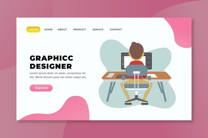 Thumbnail for Graphic Designer - XD PSD AI Vector Landing Page