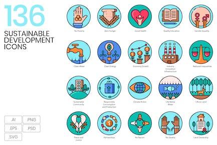 136 Icons für nachhaltige Entwicklung