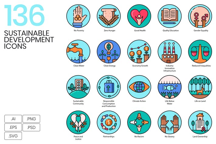 Thumbnail for 136 Sustainable Development Icons