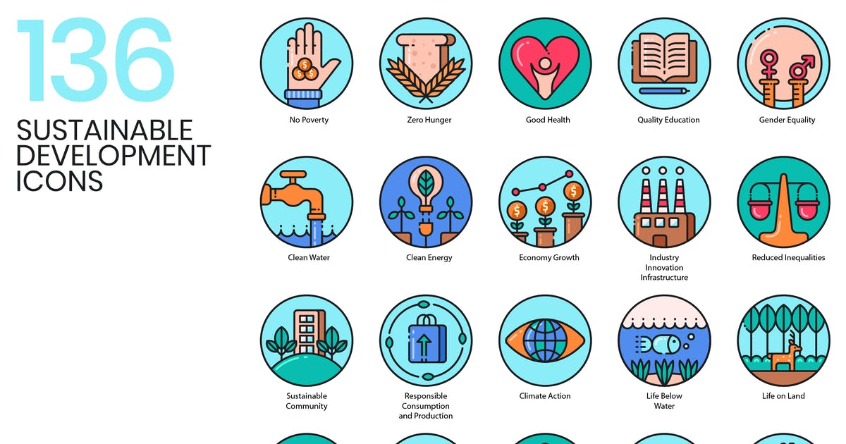 136 Sustainable Development Icons by Krafted