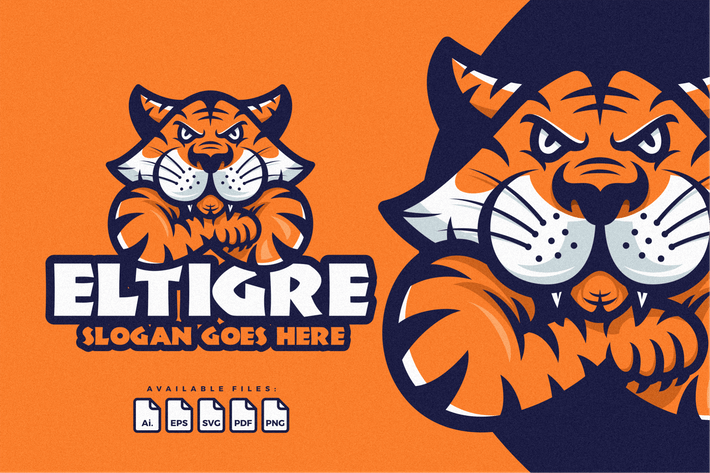 Thumbnail for Tiger Angry Logo Mascot