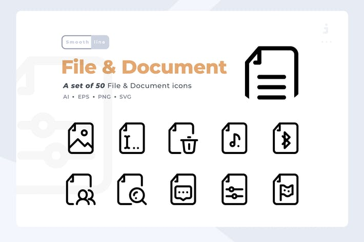 Thumbnail for Smoothline - 50 File and Document icon set