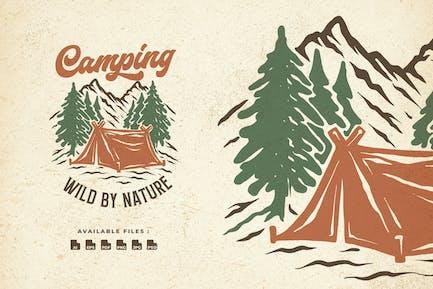 Camping Hand Drawn Logo