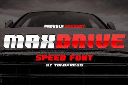 MAXDRIVE- racing gaming font