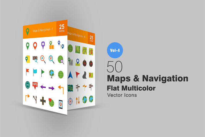 Thumbnail for 50 Maps & Navigation Flat Multicolor Icons