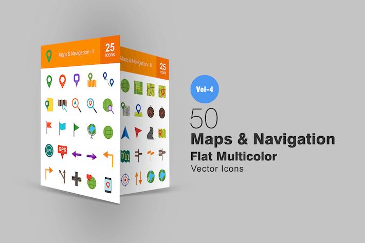 Thumbnail for 50 карт и навигации плоские многоцветные Иконки