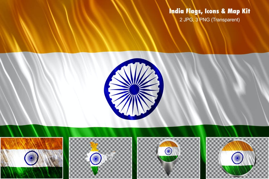 Download India Flags Icons Map Kit by StrokeVorkz