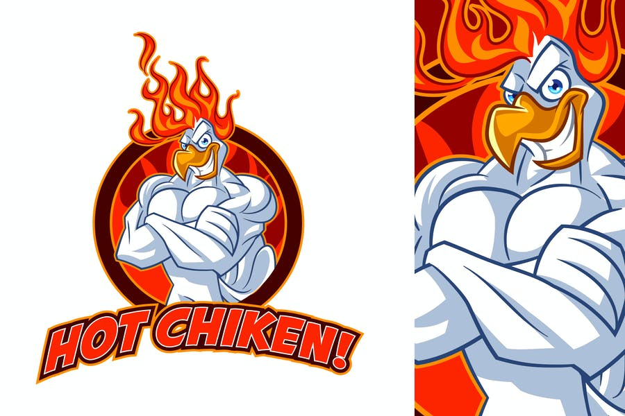 Tough Hot Chicken Mascot Logo