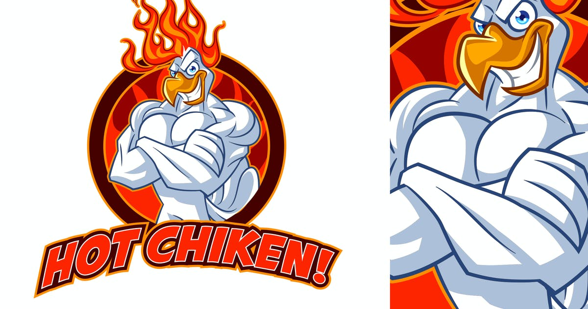 Download Tough Hot Chicken Mascot Logo by Suhandi