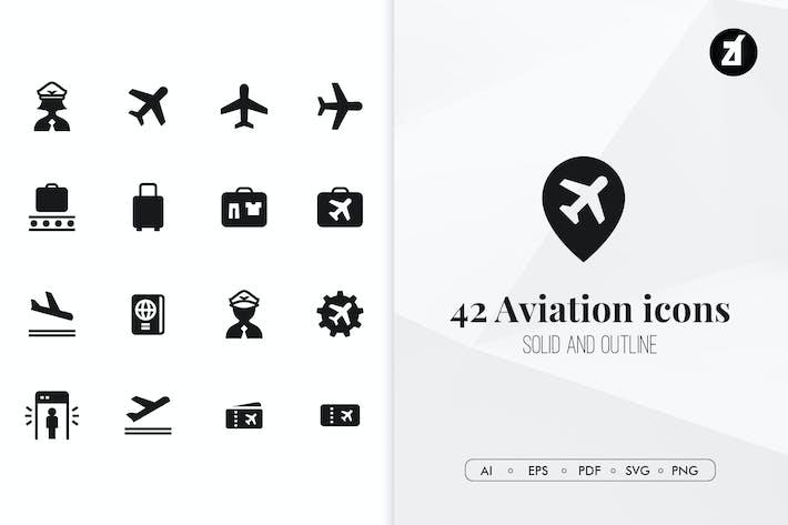 Thumbnail for 42 Aviation minimal icons